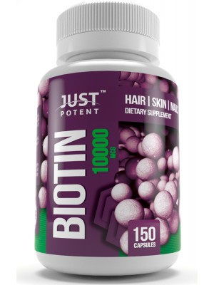 Biotin (Vitamin B7) Supplement by Just Potent 10,000 MCG | Hair, Skin & Nails Supplement