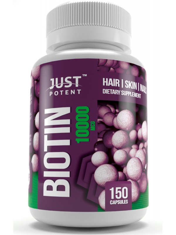 Biotin Vitamin B7 Supplement By Just Potent 10 000 Mcg Hair Skin Nails Supplement