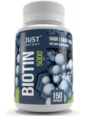 Biotin (Vitamin B7) Supplement by Just Potent 5,000 MCG | Hair, Skin & Nails Supplement