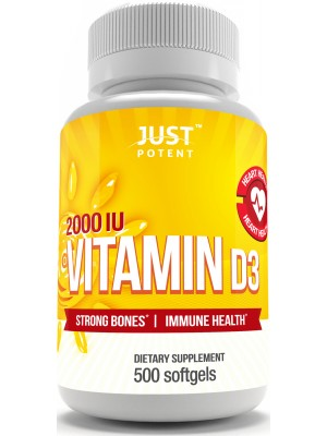 Vitamin D3 Supplement | 500 Softgels | 2,000 IU | Better Mood | Bones & Teeth Health