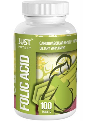 Folic Acid (Vitamin B9) Supplement by Just Potent | Fortified With Vitamin B12 | Cardiovascular Health | Prenatal