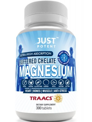 Just Potent Ultra-High Absorption Magnesium Bisglycinate Chelate | 100mg Tablets | 300 Count