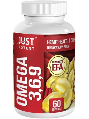 Omega 3 . 6 . 9 Supplement by Just Potent | Heart Health | Cholesterol | 25,000 IU