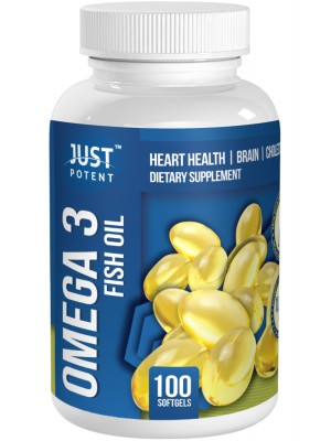 Omega 3 Fish Oil Supplement by Just Potent | 1000mg | Heart Health | Brain | Cholesterol