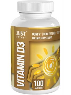 Vitamin D3 Supplement by Just Potent | Bones & Teeth Health | Cholesterol | Skin | 5,000 IU
