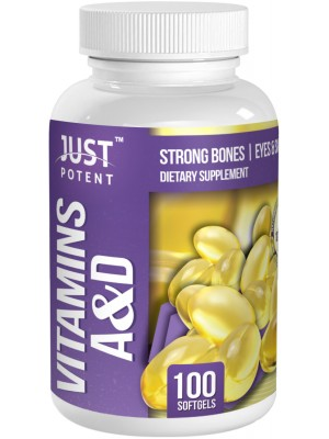 Vitamins A & D Supplement by Just Potent | Strong Bones | Eyes & Skin | 100 Softgels